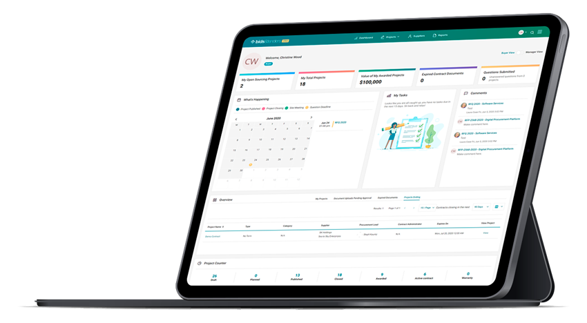 dashboard on tablet